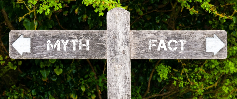 "Crossroad sign with ""MYTH"" on the right and ""FACT"" on the left."