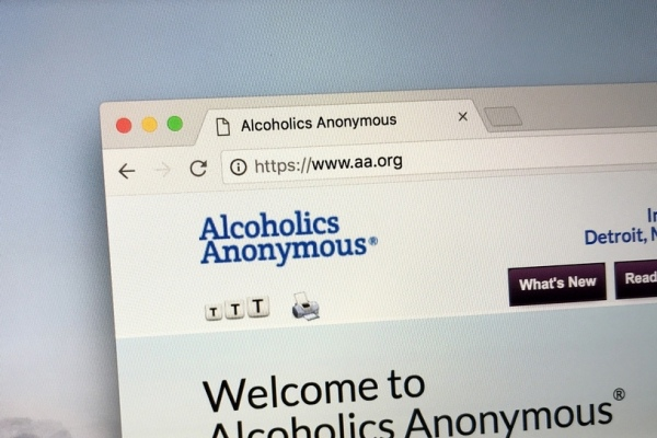 Screenshot of Alcoholic Anonymous website.