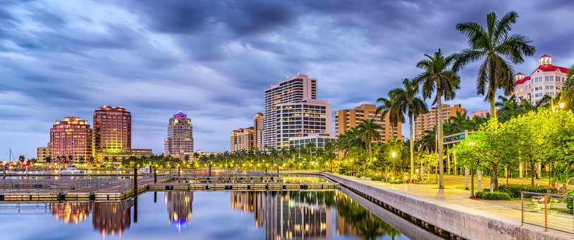 Palm beach Florida city skyline.