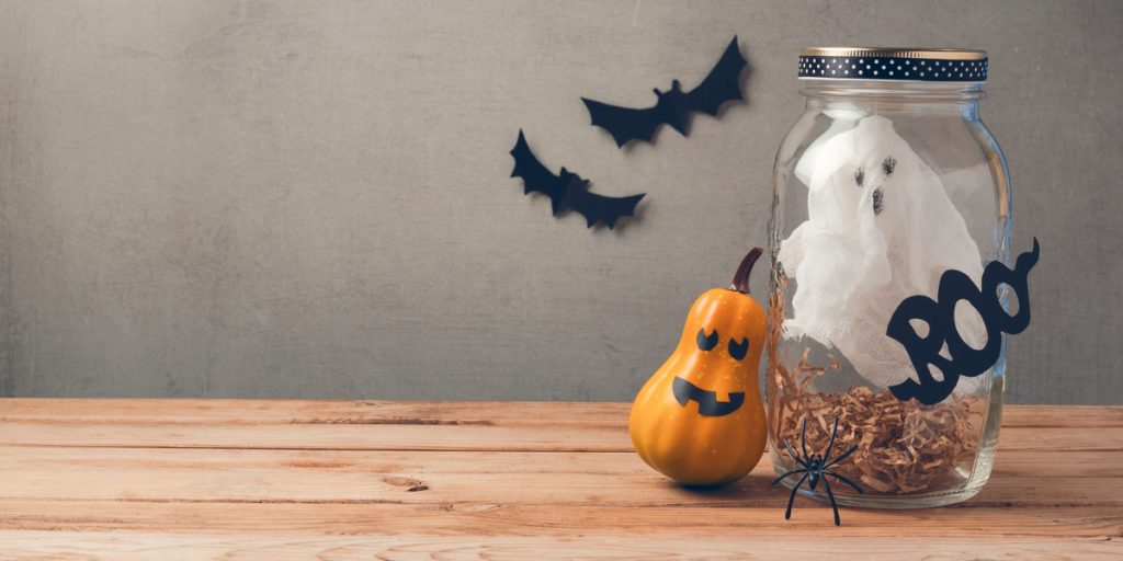 Image of halloween decorations on a table