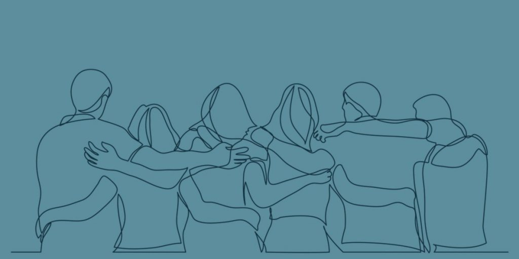 graphic of people holding eachothers backs